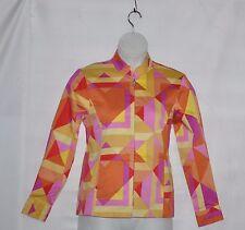 Bob Mackie Mandarin Collar Zip Front Jacket Size S Coral Multi