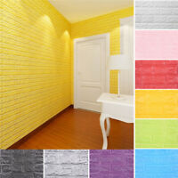 PE Foam 3D DIY Wall Stickers Wall Home Decor Embossed Brick Stone Retro FashionP