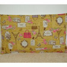 """20""""X12"""" Oblong Bolster Cushion Cover Eiffel Tower Pink Ochre Mustard Paris 20x12"""