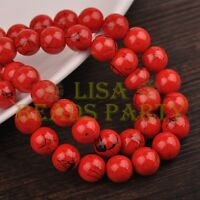 Hot 50pcs 8mm Round Black Stripes Charm Loose Spacer Glass Beads Red