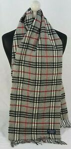 BURBERRY SCARF 100% LAMBSWOOL FOR MEN AND WOMEN MADE IN ENGLAND GREY TU
