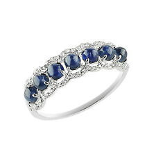 14K WHITE GOLD PAVE DIAMOND SAPPHIRE WEDDING BAND COCKTAIL STACK RING