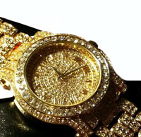Unisex Hip Hop Bling Gold plated Lab Crystals Iced out Metal Band Watch