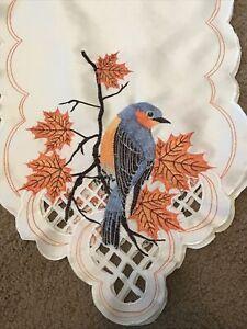 "Fall Table Runner Thanksgiving Autumn Leaves Bird Lattice Embroidered 6""x12.75"""