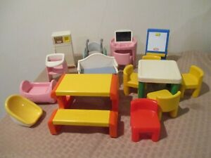 LOT Of 15 Vintage Little Tikes Dollhouse Furniture Picnic Table Wheelchair