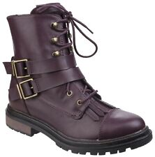 Rocket Dog Lacie burgundy faux leather combat boot