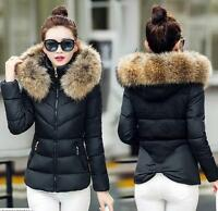 Women's warm Down jacket Fur Collar Hooded Coat Quilted Winter Jacket parkas