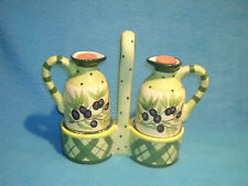 Milson & Louis Cruet Set Green Stripes with Grapes, with Corks, Free Ship