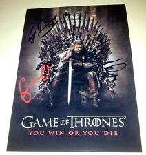 "GAME OF THRONES CAST X3 PP SIGNED POSTER 12""X8"" SEAN BEAN"