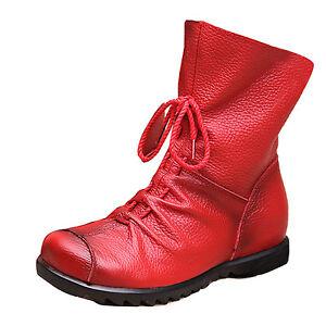 Vintage Genuine Soft Leather Women Ankle Snow Boots Cowboy Riding Warm Fur Shoes