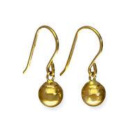 Real 375 9ct Gold Dangle Earrings Ball Drop Fish Hooks
