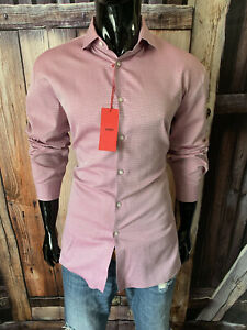 Hugo Boss Red Tag LS Off Red Houndstooth Dress Shirt 16 1/2-32/33 Slim NWT $145