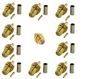 SMA Female Crimp Connector x 10 for RG316 RG174 cable                       64A
