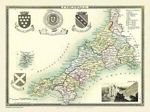Map of Cornwall 1836 by Thomas Moule 1000 Piece Jigsaw Puzzle (jg)