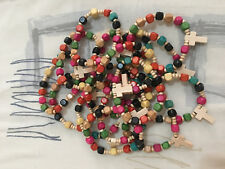 Lot of 15 Wooden Beads Rosary Bracelets