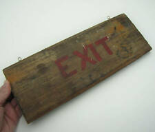 Vintage Reclaimed Wood Exit Sign / Plaque Shop Pub Bar Wooden