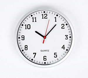 REAL ACCESSORIES® Large Silver Round Stylish Modern Wall Clock. Easy Readable in