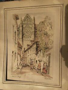 Original Lithograph FRENCH VILLAGE by Cervenka