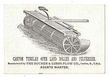 Bucher & Gibbs Plow Canton Tubular Open Land Roller Victorian Trade Card