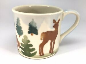 Hartstone Pottery USA Mug Set Deer Pine Trees