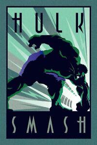 "The Incredible Hulk - Marvel Poster (Art Deco) (Hulk Smash) (Size: 24"" X 36"")"