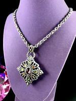 BRIGHTON SILVER CHAIN NECKLACE DIAMOND DESIGN AMETHYST AMBER CABOCHON PENDANT