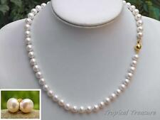 8-9mm AA Grade WHITE Akoya Pearl Necklace & earrings - 14k/20GF Clasp