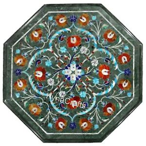 14 Inches Octagon Marble Bed Side Table Mosaic Art Coffee Table Top for Hallway