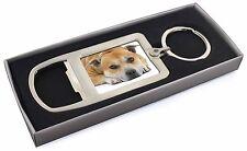 Red Staffordshire Bull Terrier Dog Chrome Metal Bottle Opener Keyrin, AD-SBT3MBO
