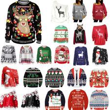 Christmas Women Men Ugly Xmas Pullover Sweater Santa Elk Sweatshirt Jumper Shirt