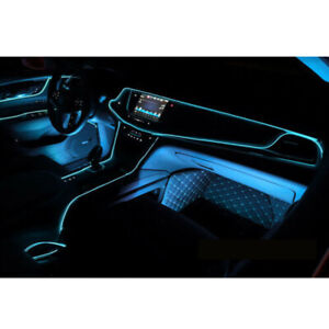 Blue LED 2M Car Interior Decor Atmosphere Lamp Cold Light Strip Wire Accessories