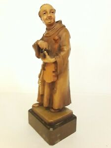 """Vintage ANRI Monk Friar Holding Violin & Small Box 7"""" H Made In Italy"""