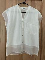 Helmut Lang Women's Silk Cotton  Sheer Accent white Shirt top blouse Size Medium