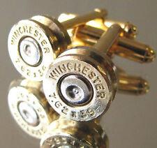7.62x39 WINCHESTER Bullet Cufflinks Gold Brass Silver Gun Rifle AK-47 AR-15 308