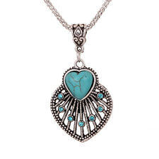 xmas Turquoise Heart peacock Pendant Tibet Silver Crystal dangle Necklace party