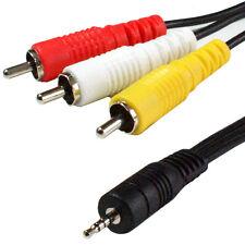 3m 2.5mm 4 Pole Mini Jack Plug to 3 RCA/Phono Male Cable/Lead - TV Video Camera