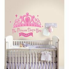 PRINCESS SLEEPS HERE BiG Pink Tiara Wall Stickers Personalized Name Banner Decal