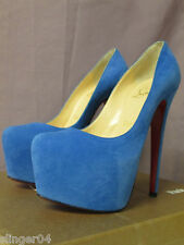 AUTHENTIC NEW CHRISTIAN LOUBOUTIN BLUE DAFFODILE PLATFORM PUMP HEEL SHOE/34.5