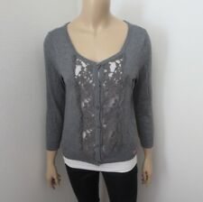 Hollister Womens Lace Cardigan Sweater Size Medium Gray