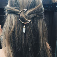 Women Vintage Alloy Moon Hair Clip Natural Stone Pendant Charms Clamp Hairpin SE