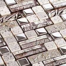 Mosaicos DE VIDRIO AZULEJOS Piedra Natural CRISTAL Zoe Plata Metal Acero Inox