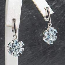Glamorous 5.04ctw Blue Topaz 925 Sterling Silver Cluster Earrings 6.1g