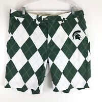 Loudmouth Mens Golf Shorts Green White MSU Michigan State Spartan Argyle size 40
