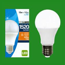 8x 15w (= 100w) LED Perla GLS Bombilla Estándar forma ES E27 Rosca Edison