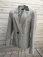 Jaeger Ladies Grey White Striped Blazer Jacket Size 10