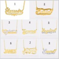 Personalized Sterling Silver Gold Any Name Plate Script Chain Necklace