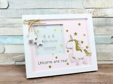 Unicorns Are Real Pink with Gold Glitter Stars Photo Frame 4x4