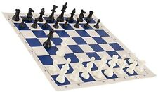"""Black & White Chess Pieces & 20"""" Royal Blue Board - Triple Weighted Chess Set"""