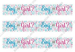9ft Boy or Girl? Gender Reveal Foil Banner Bunting Baby Shower Party Decoration
