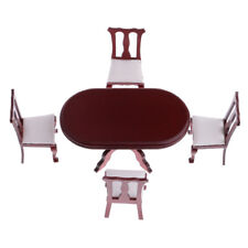 1/12th Dollhouse Miniature Furniture Dining Room Rosewood Table Chairs Set